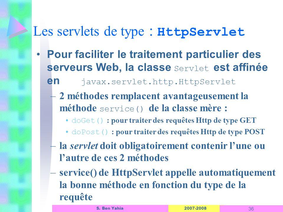 2007-2008 36 S. Ben Yahia Les servlets de type : HttpServlet Pour faciliter le traitement particulier des serveurs Web, la classe Servlet est affinée