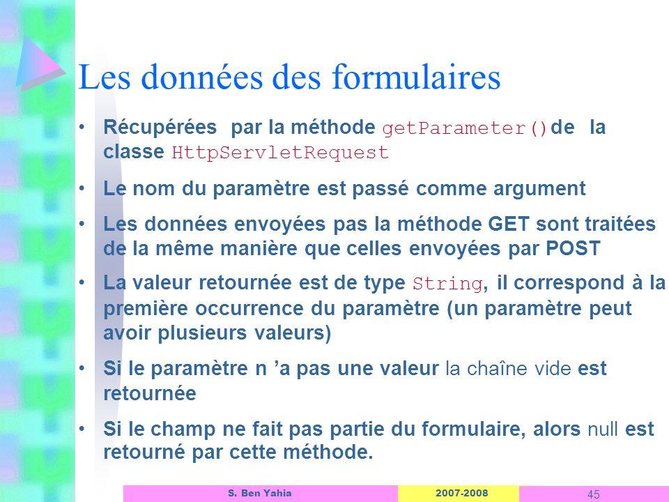2007-2008 45 S. Ben Yahia Les données des formulaires Récupérées par la méthode getParameter() de la classe HttpServletRequest Le nom du paramètre est