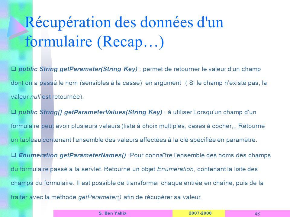 2007-2008 48 S. Ben Yahia Récupération des données d'un formulaire (Recap…) public String getParameter(String Key) : permet de retourner le valeur d'u