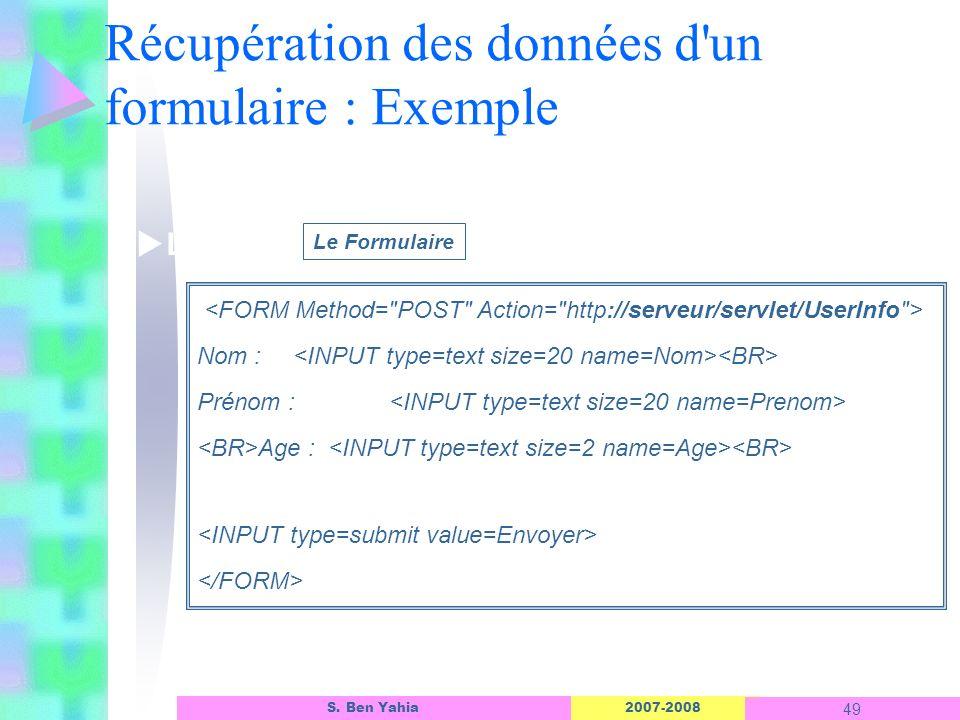 2007-2008 49 S. Ben Yahia Récupération des données d'un formulaire : Exemple Linterface dun objet ASP Nom : Prénom : Age : Le Formulaire