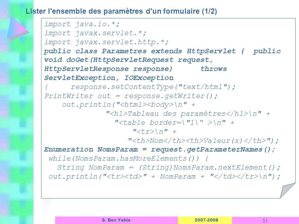2007-2008 51 S. Ben Yahia Lister l'ensemble des paramètres d'un formulaire (1/2) Linterface dun objet ASP import java.io.*; import javax.servlet.*; im
