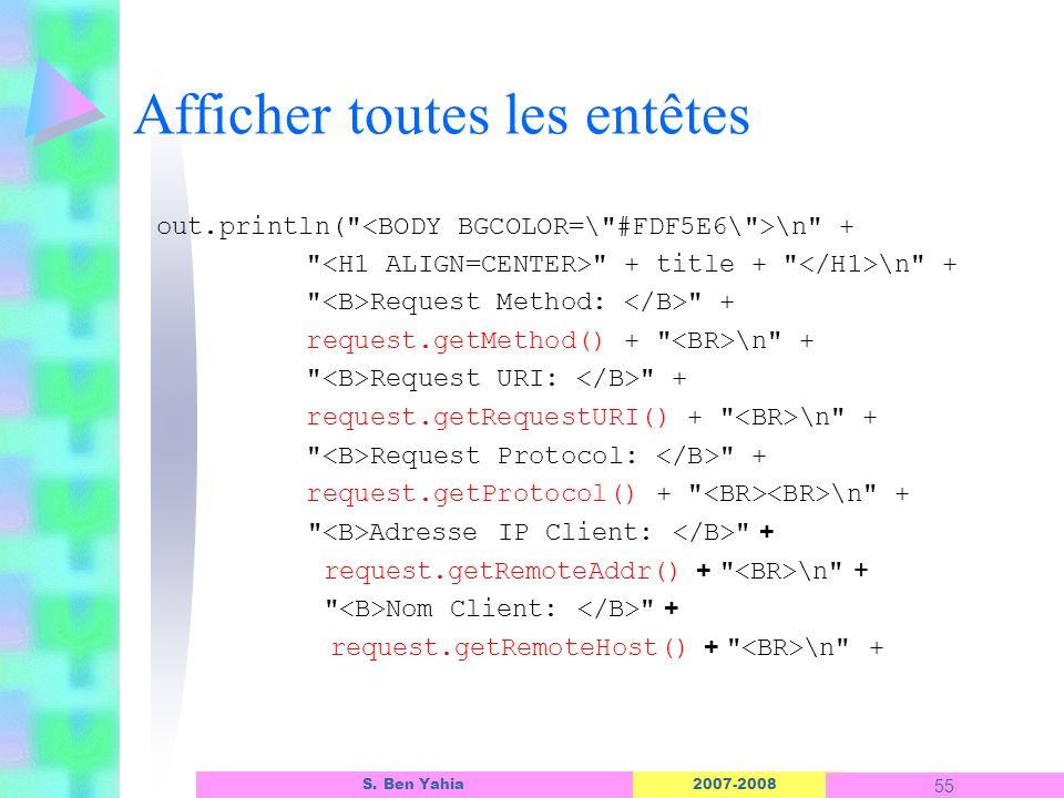 2007-2008 55 S. Ben Yahia Afficher toutes les entêtes out.println(