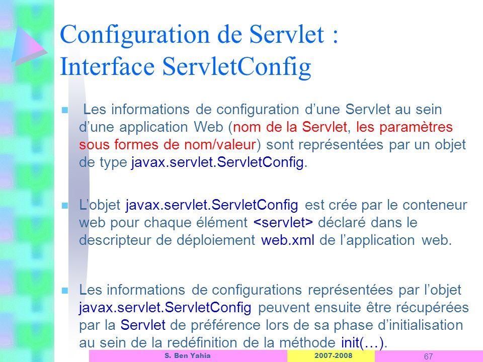 2007-2008 67 S. Ben Yahia n Les informations de configuration dune Servlet au sein dune application Web (nom de la Servlet, les paramètres sous formes