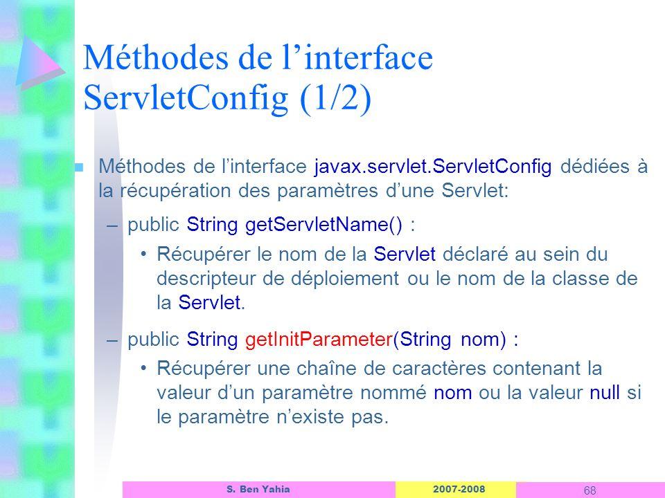 2007-2008 68 S. Ben Yahia n Méthodes de linterface javax.servlet.ServletConfig dédiées à la récupération des paramètres dune Servlet: –public String g