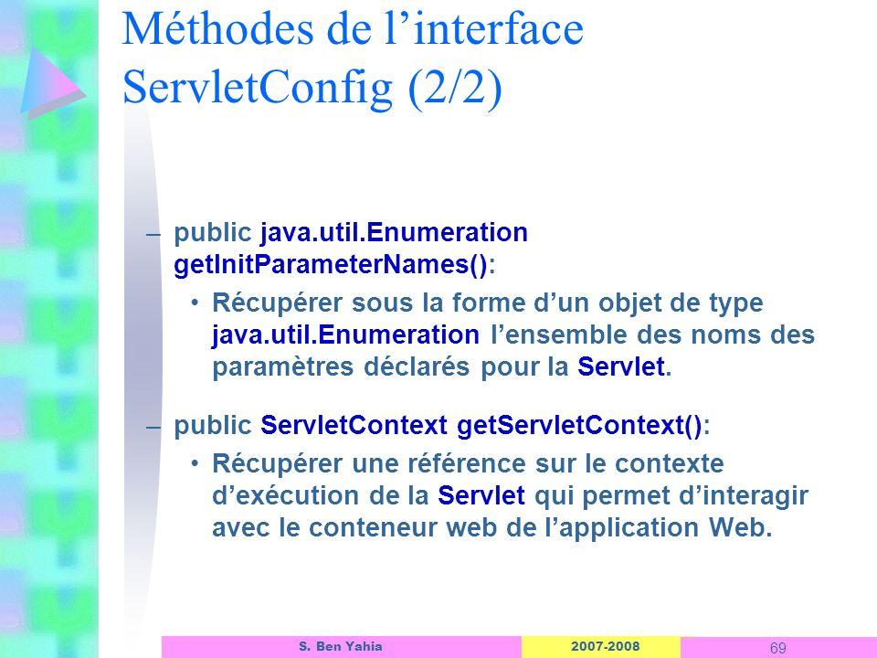 2007-2008 69 S. Ben Yahia Méthodes de linterface ServletConfig (2/2) –public java.util.Enumeration getInitParameterNames(): Récupérer sous la forme du