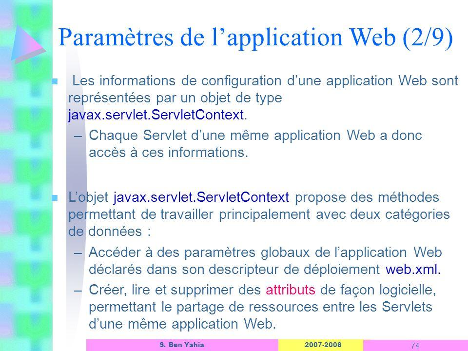 2007-2008 74 S. Ben Yahia n Les informations de configuration dune application Web sont représentées par un objet de type javax.servlet.ServletContext