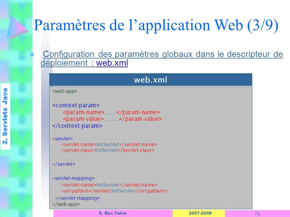 2007-2008 75 S. Ben Yahia n Configuration des paramètres globaux dans le descripteur de déploiement : web.xml 2. Servlets Java Paramètres de lapplicat