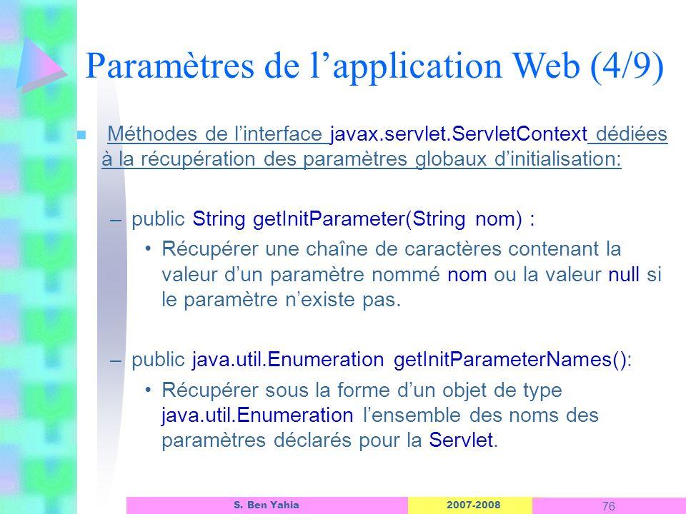 2007-2008 76 S. Ben Yahia n Méthodes de linterface javax.servlet.ServletContext dédiées à la récupération des paramètres globaux dinitialisation: –pub