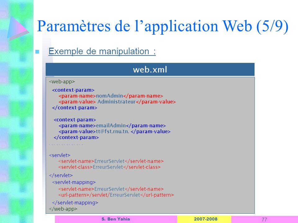 2007-2008 77 S. Ben Yahia n Exemple de manipulation : Paramètres de lapplication Web (5/9) nomAdmin Administrateur emailAdmin tt@fst.rnu.tn. ………………… E
