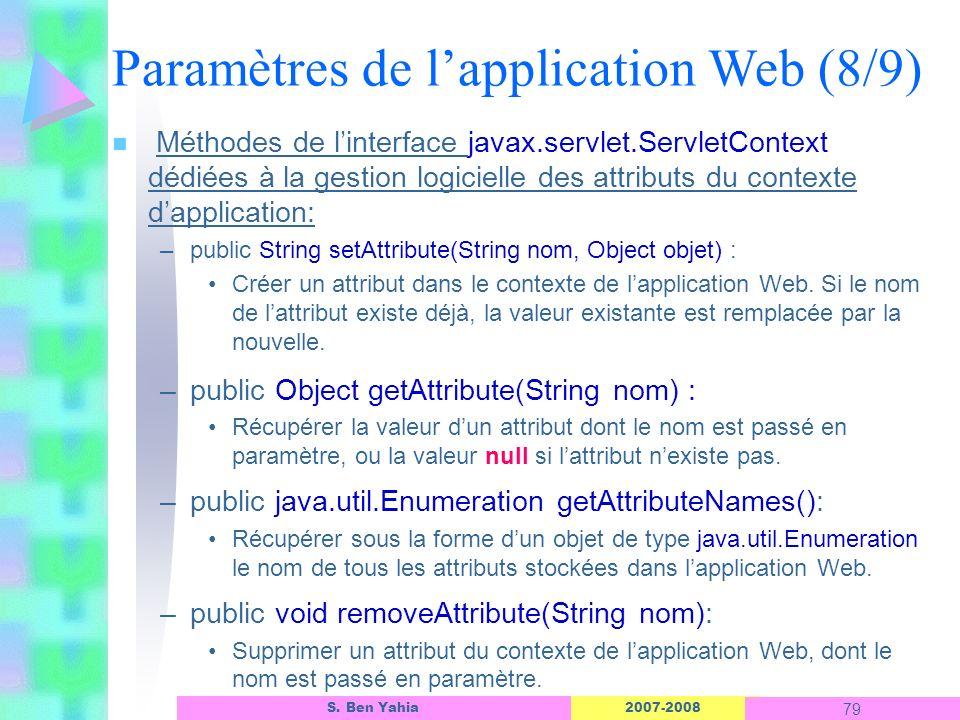 2007-2008 79 S. Ben Yahia n Méthodes de linterface javax.servlet.ServletContext dédiées à la gestion logicielle des attributs du contexte dapplication
