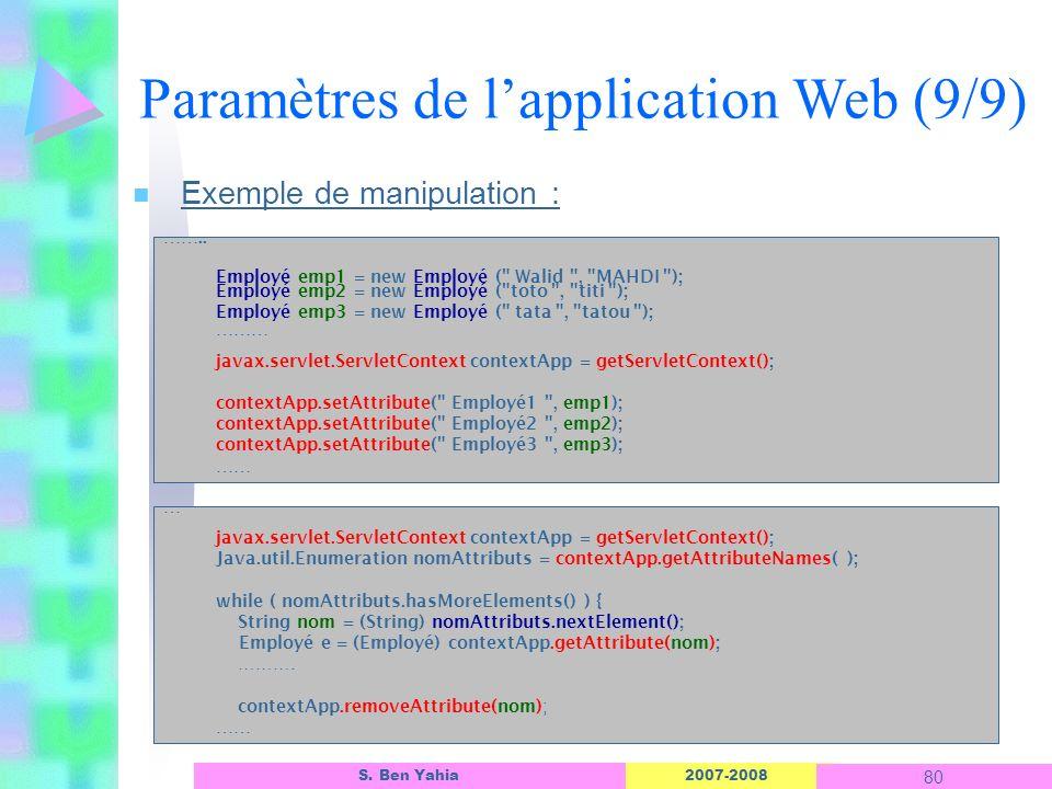 2007-2008 80 S. Ben Yahia n Exemple de manipulation : Paramètres de lapplication Web (9/9) …….. Employé emp1 = new Employé (