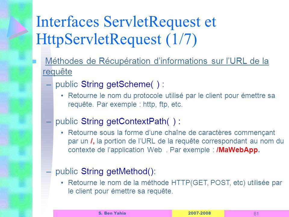 2007-2008 81 S. Ben Yahia n Méthodes de Récupération dinformations sur lURL de la requête –public String getScheme( ) : Retourne le nom du protocole u