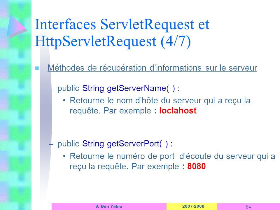 2007-2008 84 S. Ben Yahia n Méthodes de récupération dinformations sur le serveur –public String getServerName( ) : Retourne le nom dhôte du serveur q