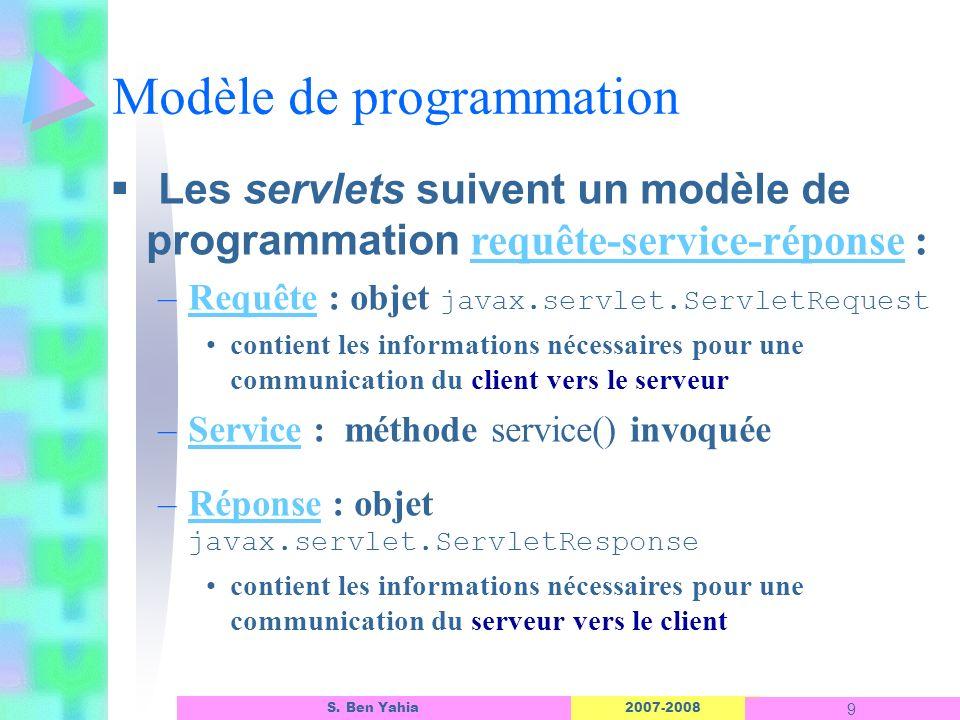 2007-2008 9 S. Ben Yahia Modèle de programmation Les servlets suivent un modèle de programmation requête-service-réponse : –Requête : objet javax.serv