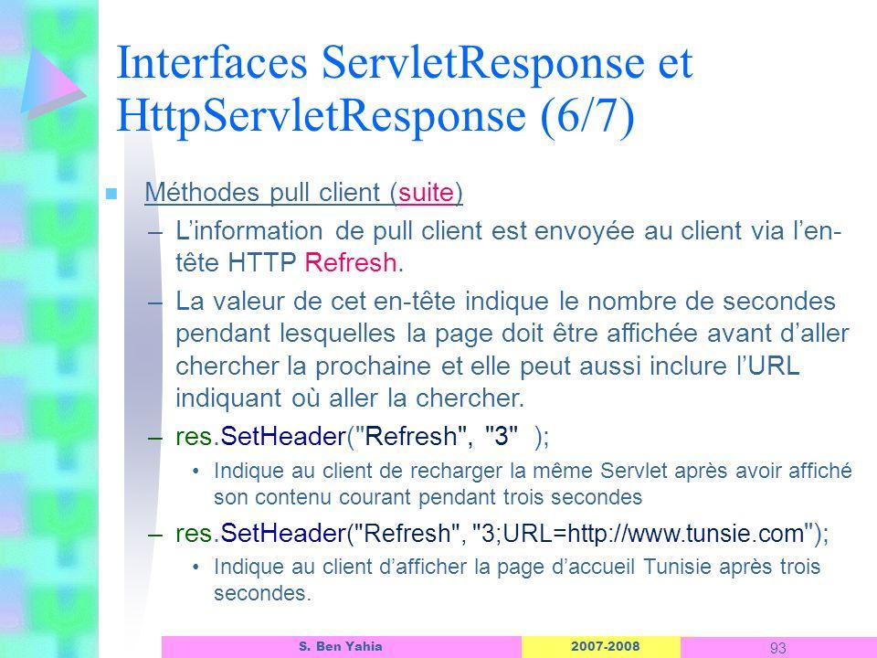 2007-2008 93 S. Ben Yahia n Méthodes pull client (suite) –Linformation de pull client est envoyée au client via len- tête HTTP Refresh. –La valeur de