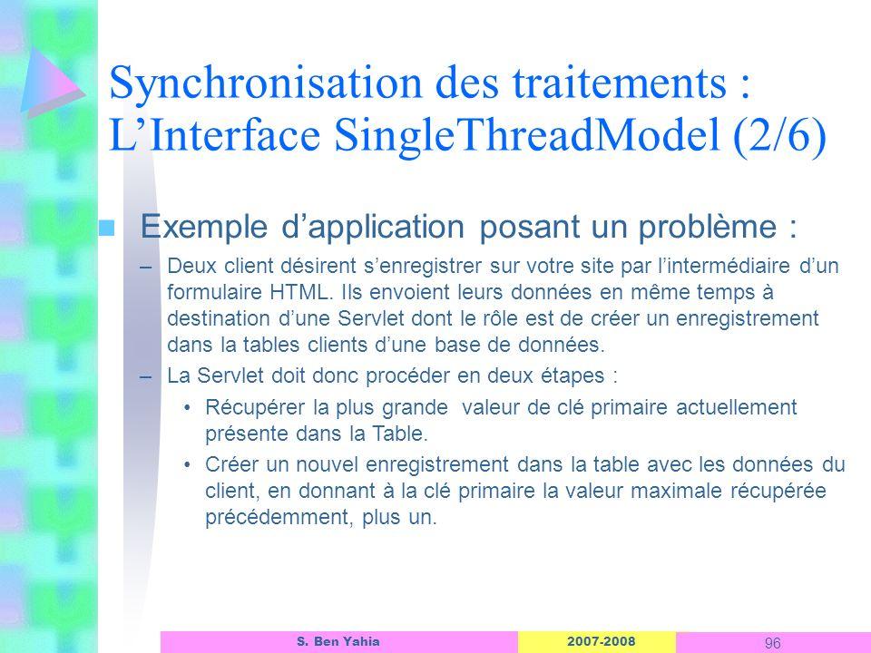 2007-2008 96 S. Ben Yahia n Exemple dapplication posant un problème : –Deux client désirent senregistrer sur votre site par lintermédiaire dun formula