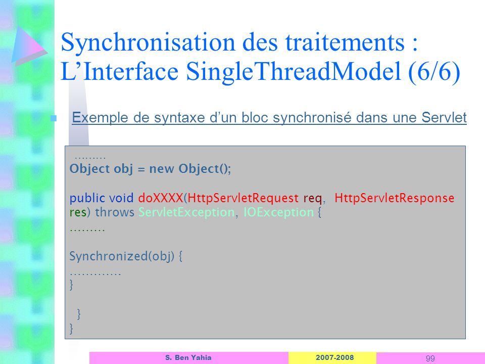 2007-2008 99 S. Ben Yahia n Exemple de syntaxe dun bloc synchronisé dans une Servlet ……… Object obj = new Object(); public void doXXXX(HttpServletRequ