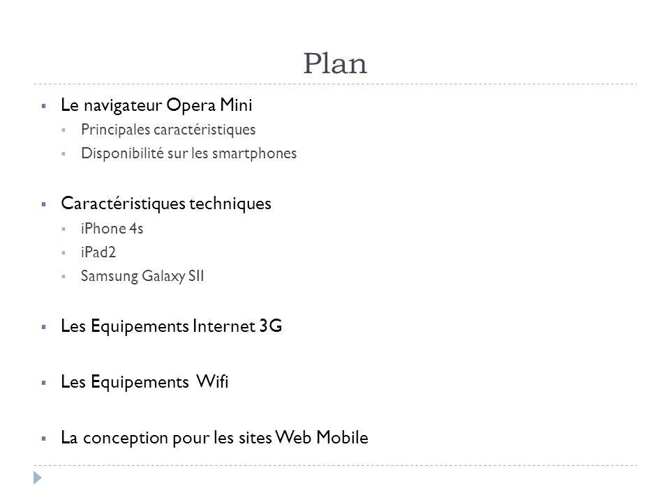 Plan Le navigateur Opera Mini Principales caractéristiques Disponibilité sur les smartphones Caractéristiques techniques iPhone 4s iPad2 Samsung Galaxy SII Les Equipements Internet 3G Les Equipements Wifi La conception pour les sites Web Mobile