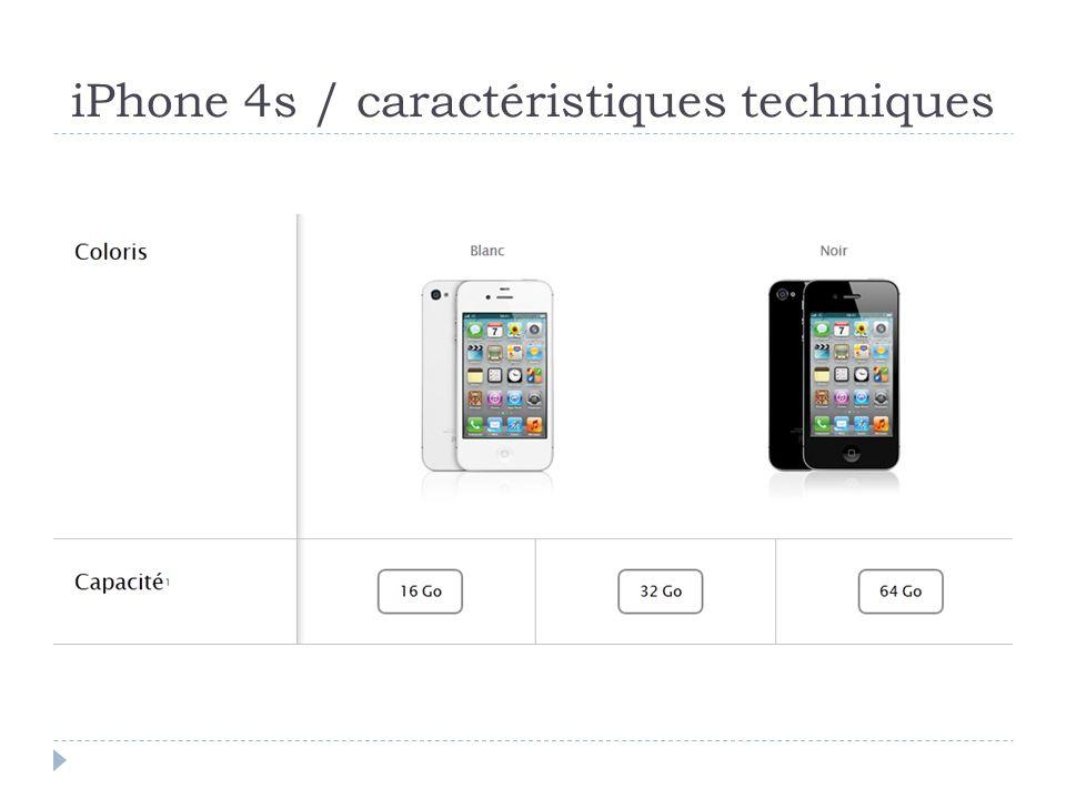 iPhone 4s / caractéristiques techniques