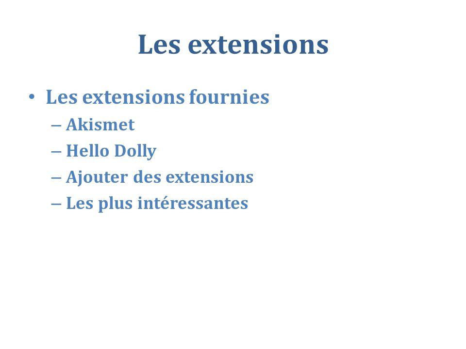 Les extensions Les extensions fournies – Akismet – Hello Dolly – Ajouter des extensions – Les plus intéressantes