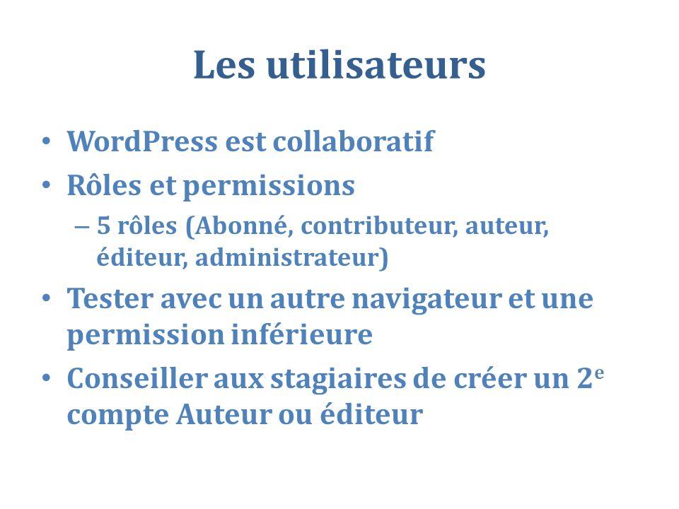 Les utilisateurs WordPress est collaboratif Rôles et permissions – 5 rôles (Abonné, contributeur, auteur, éditeur, administrateur) Tester avec un autre navigateur et une permission inférieure Conseiller aux stagiaires de créer un 2 e compte Auteur ou éditeur