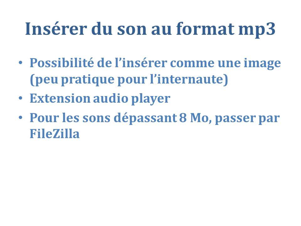 Insérer du son au format mp3 Possibilité de linsérer comme une image (peu pratique pour linternaute) Extension audio player Pour les sons dépassant 8 Mo, passer par FileZilla