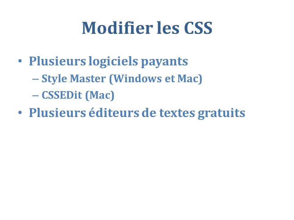 Modifier les CSS Plusieurs logiciels payants – Style Master (Windows et Mac) – CSSEDit (Mac) Plusieurs éditeurs de textes gratuits