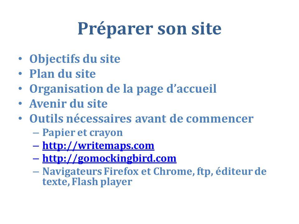 Préparer son site Objectifs du site Plan du site Organisation de la page daccueil Avenir du site Outils nécessaires avant de commencer – Papier et crayon – http://writemaps.com http://writemaps.com – http://gomockingbird.com http://gomockingbird.com – Navigateurs Firefox et Chrome, ftp, éditeur de texte, Flash player