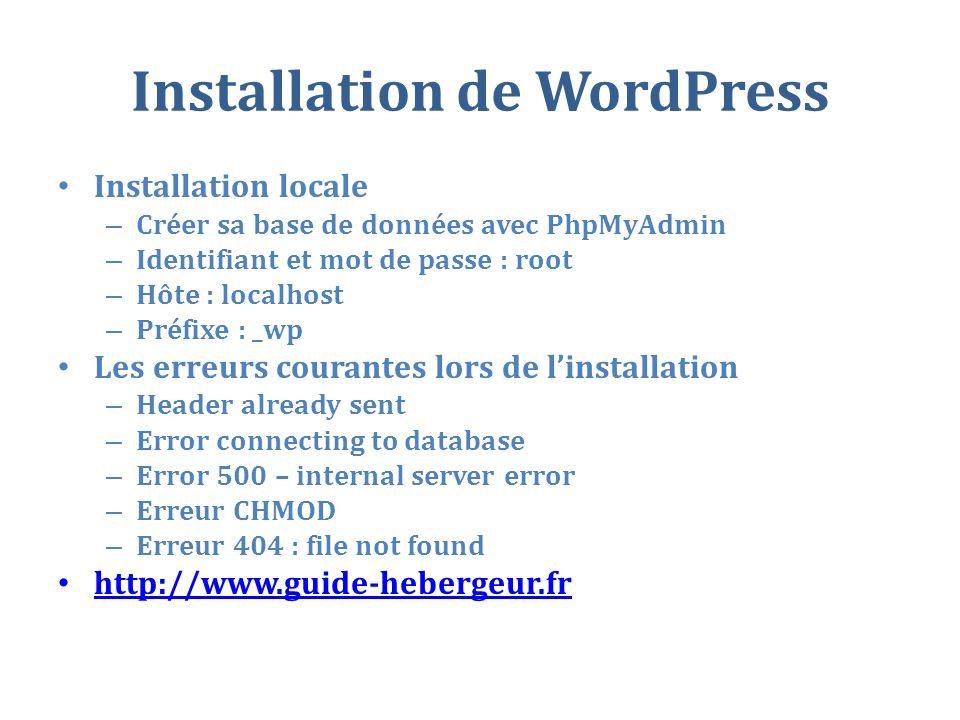 Installation de WordPress Installation locale – Créer sa base de données avec PhpMyAdmin – Identifiant et mot de passe : root – Hôte : localhost – Préfixe : _wp Les erreurs courantes lors de linstallation – Header already sent – Error connecting to database – Error 500 – internal server error – Erreur CHMOD – Erreur 404 : file not found http://www.guide-hebergeur.fr
