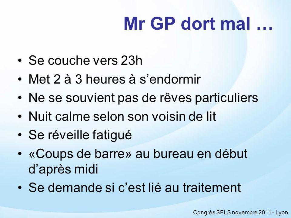 Congrès SFLS novembre 2011 - Lyon Mr GP dort mal … Se couche vers 23h Met 2 à 3 heures à sendormir Ne se souvient pas de rêves particuliers Nuit calme