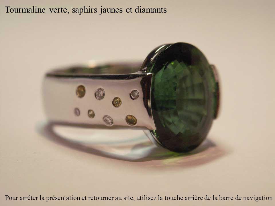 Tourmaline verte, saphirs jaunes et diamants Pour arrêter la présentation et retourner au site, utilisez la touche arrière de la barre de navigation