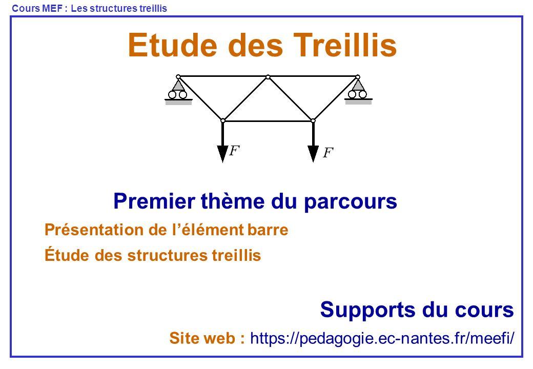 Cours MEF : Les structures treillis Les Treillis Poutres reliées par des rotules Traction - compression « PFD » On isole une tranche dx Modèle barre « Comportement » Les conditions aux limites sur EDP Équations aux Dérivées Partielles