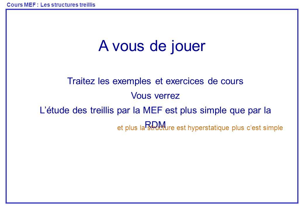 Cours MEF : Les structures treillis A vous de jouer Traitez les exemples et exercices de cours Vous verrez Létude des treillis par la MEF est plus sim