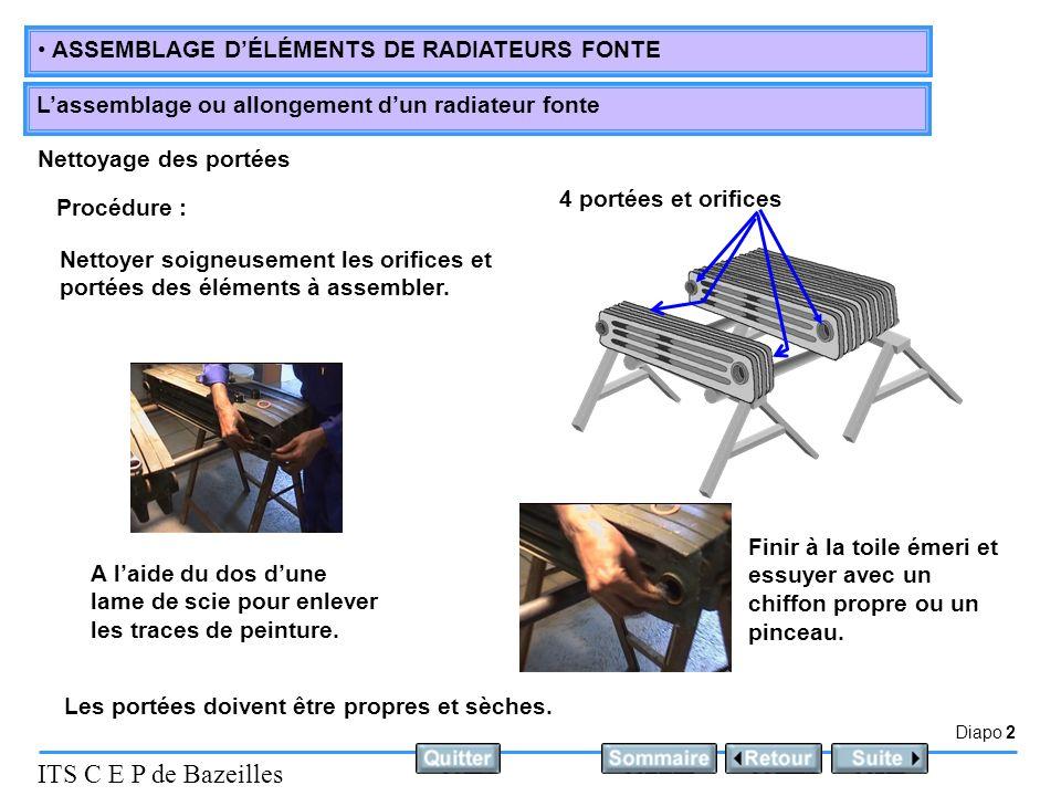 Diapo 2 ITS C E P de Bazeilles ASSEMBLAGE DÉLÉMENTS DE RADIATEURS FONTE Lassemblage ou allongement dun radiateur fonte Nettoyage des portées Procédure