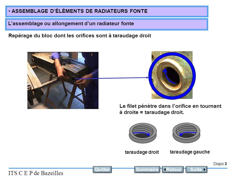 Diapo 3 ITS C E P de Bazeilles ASSEMBLAGE DÉLÉMENTS DE RADIATEURS FONTE Lassemblage ou allongement dun radiateur fonte Repérage du bloc dont les orifi
