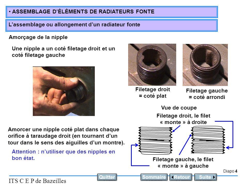 Diapo 5 ITS C E P de Bazeilles ASSEMBLAGE DÉLÉMENTS DE RADIATEURS FONTE Lassemblage ou allongement dun radiateur fonte Placement du joint Placer un joint papier au milieu de chacune des deux nipples Joint papier