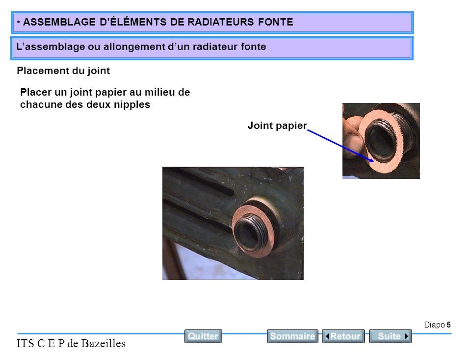 Diapo 5 ITS C E P de Bazeilles ASSEMBLAGE DÉLÉMENTS DE RADIATEURS FONTE Lassemblage ou allongement dun radiateur fonte Placement du joint Placer un jo