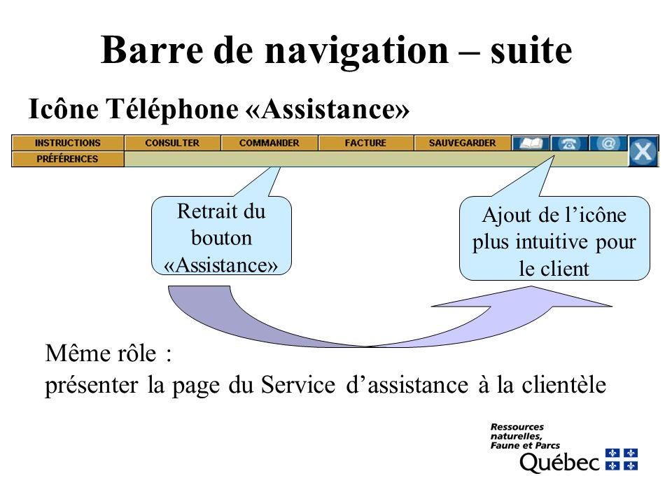 Barre de navigation – suite Icône Téléphone «Assistance» Retrait du bouton «Assistance» Ajout de licône plus intuitive pour le client Même rôle : présenter la page du Service dassistance à la clientèle