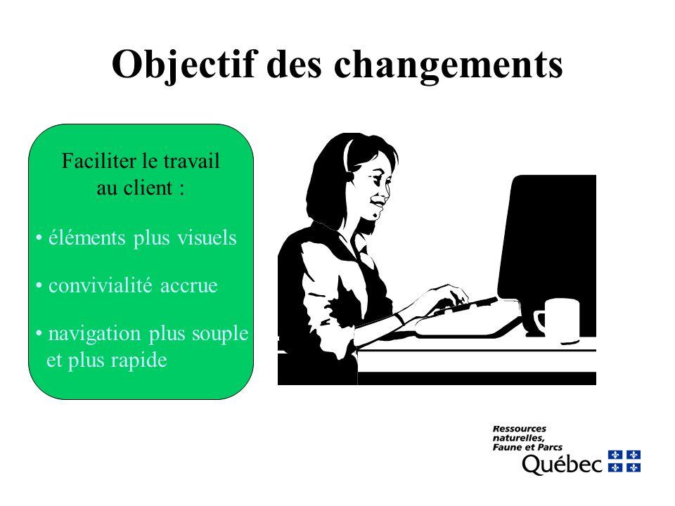 Objectif des changements Faciliter le travail au client : éléments plus visuels convivialité accrue navigation plus souple et plus rapide