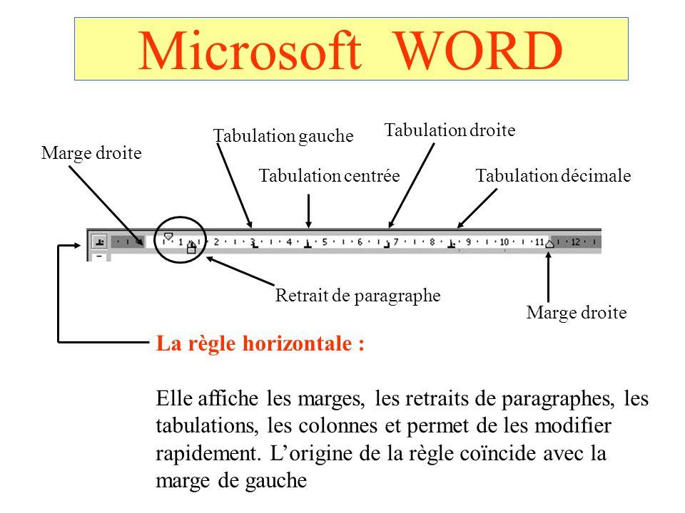 Microsoft WORD La règle horizontale : Elle affiche les marges, les retraits de paragraphes, les tabulations, les colonnes et permet de les modifier ra