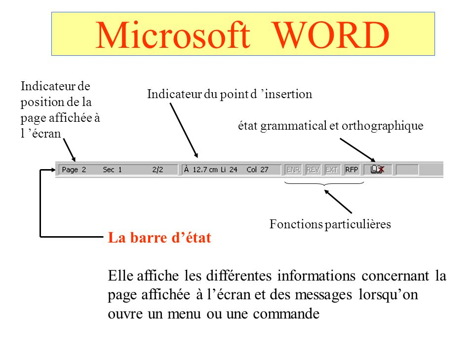 Microsoft WORD La barre détat Elle affiche les différentes informations concernant la page affichée à lécran et des messages lorsquon ouvre un menu ou