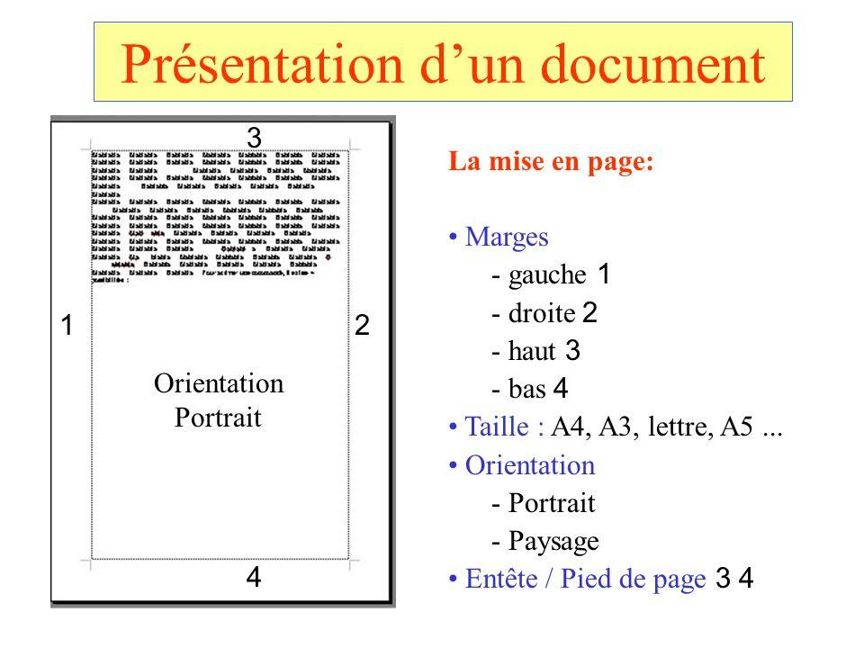Présentation dun document La mise en page: Marges - gauche 1 - droite 2 - haut 3 - bas 4 Taille : A4, A3, lettre, A5... Orientation - Portrait - Paysa
