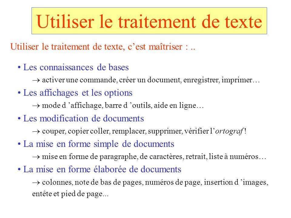 Utiliser le traitement de texte Les connaissances de bases activer une commande, créer un document, enregistrer, imprimer… Les affichages et les optio