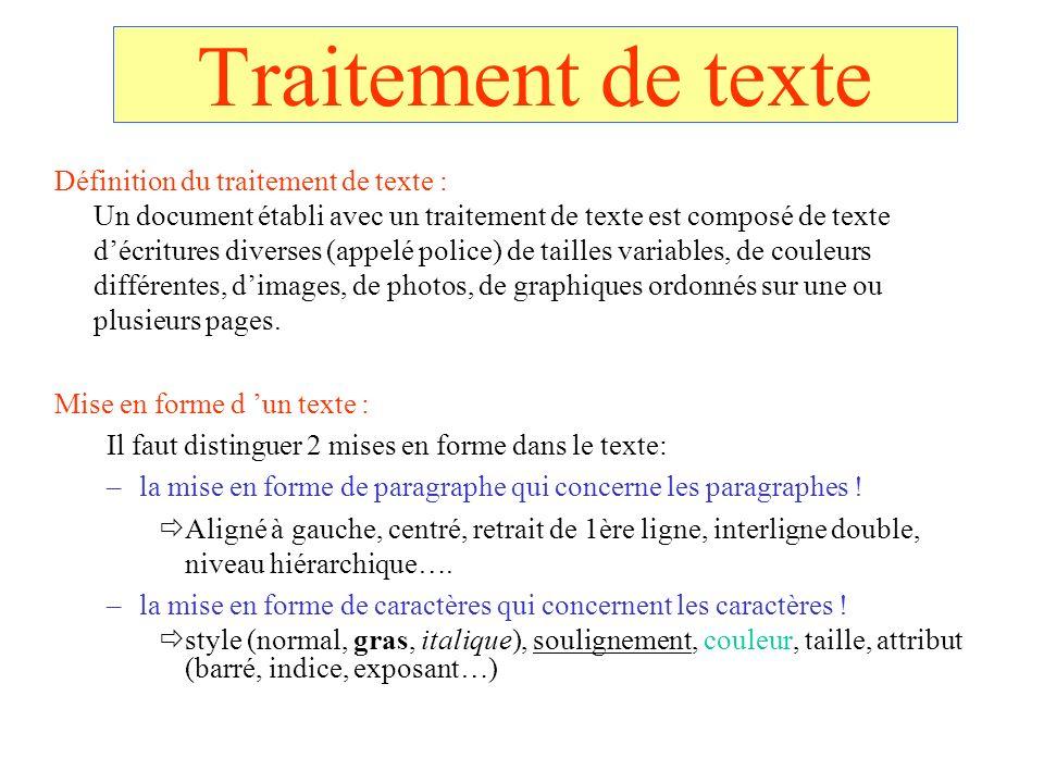 Traitement de texte Définition du traitement de texte : Un document établi avec un traitement de texte est composé de texte décritures diverses (appel