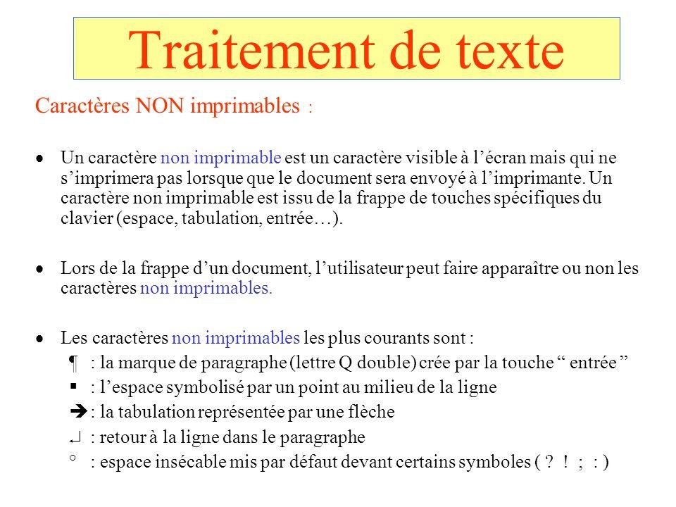 Traitement de texte Caractères NON imprimables : Un caractère non imprimable est un caractère visible à lécran mais qui ne simprimera pas lorsque que