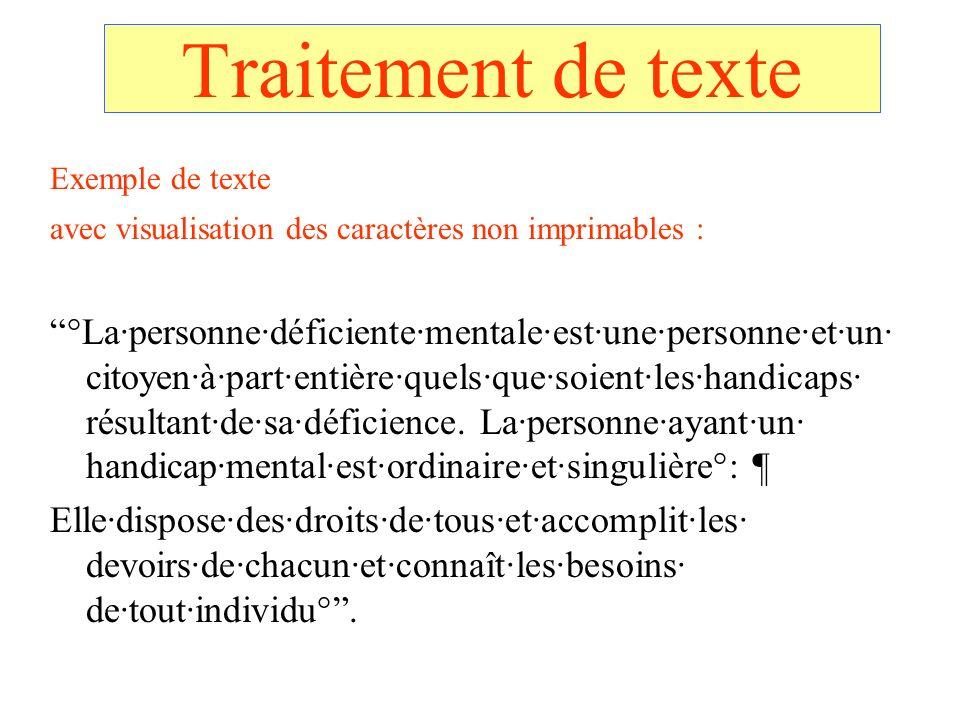 Traitement de texte Exemple de texte avec visualisation des caractères non imprimables : °Lapersonnedéficientementaleestunepersonneetun citoyenàparten
