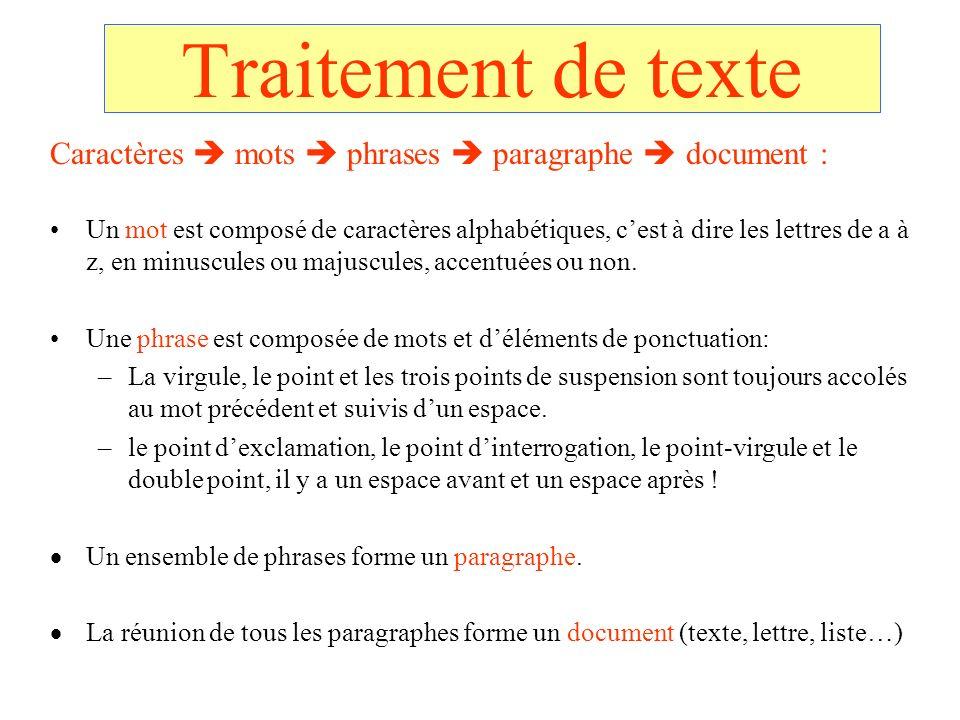 Traitement de texte Caractères mots phrases paragraphe document : Un mot est composé de caractères alphabétiques, cest à dire les lettres de a à z, en