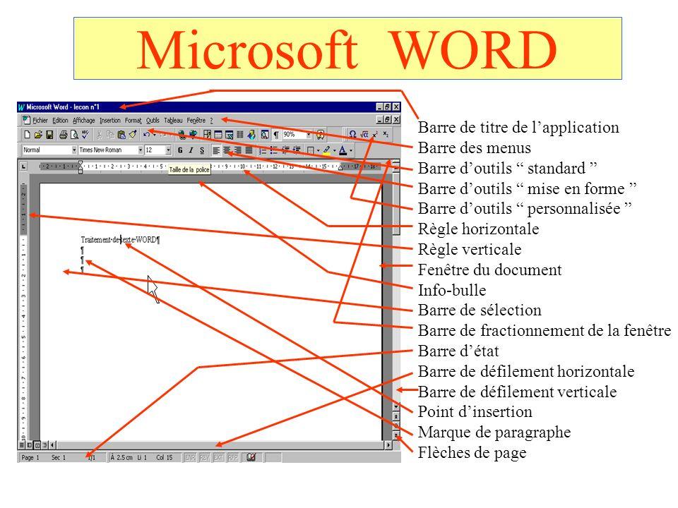 Microsoft WORD Barre de titre de lapplication Barre des menus Barre doutils standard Barre doutils mise en forme Barre doutils personnalisée Règle hor