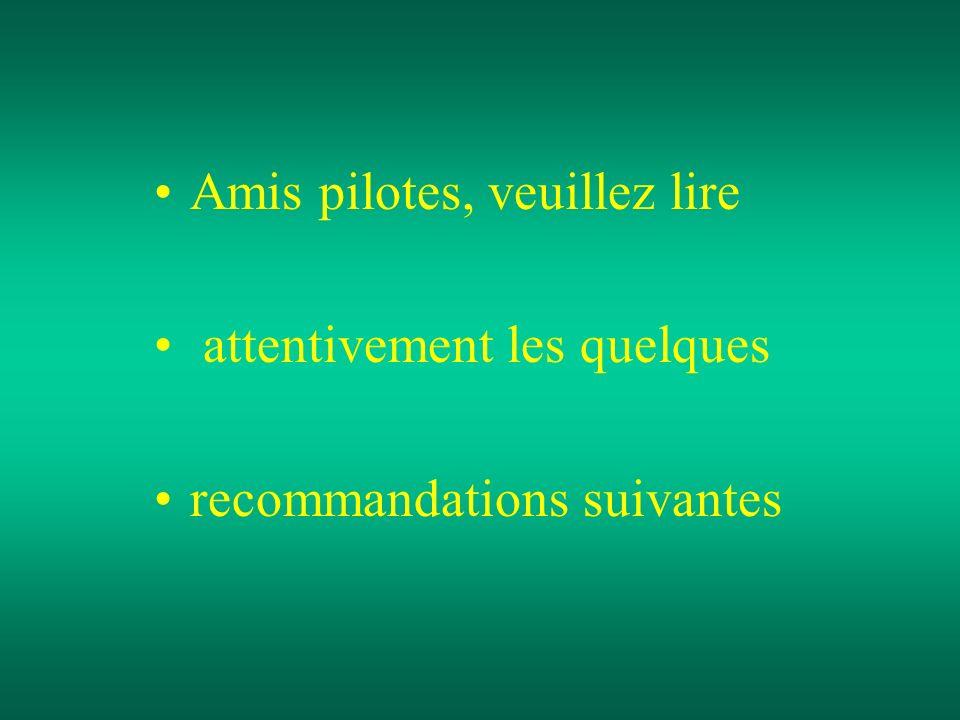 Amis pilotes, veuillez lire attentivement les quelques recommandations suivantes