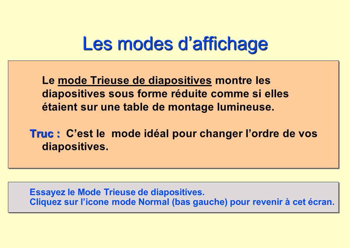 Les modes daffichage Le mode Trieuse de diapositives montre les diapositives sous forme réduite comme si elles étaient sur une table de montage lumine